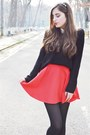 Black-h-m-sweater-red-h-m-skirt