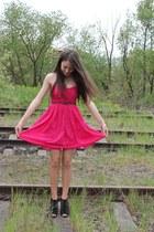 hot pink Zara dress - black Benvenutti heels