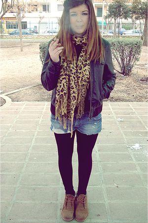 black Pimkie jacket - brown vintage boots - blue Berskha shorts