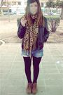 Black-pimkie-jacket-brown-vintage-boots-blue-berskha-shorts