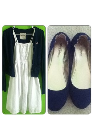 casual Old Navy dress - spring hollister sweater - navy Mossimo flats
