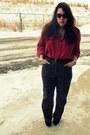 Brick-red-vintage-goodwill-shirt-black-suede-vanity-wedges-dark-brown-goodwi