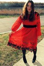 Red-goodwill-dress-black-target-jacket
