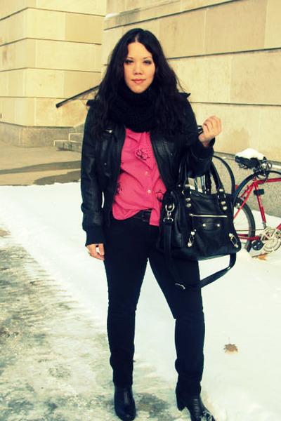 black jacket - black jeans - black Forever21 boots - pink vintage top - black pu