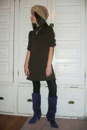 beige hat - brown dress - black leggings - purple boots