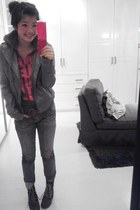 Urban Outfitters boots - skinny Forever 21 jeans - heather gray jacket - forest
