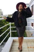faux fur coat coat - fur coat coat - floppy hat hat - chiffon shirt shirt