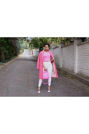 pink coat Topshop coat - Topshop jeans - neon pink tote Blackcherry bag