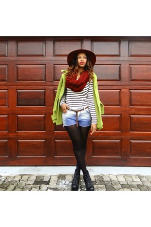 floppy hat hat - boots - green coat coat - burgundy snood scarf