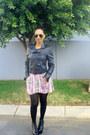 Leather-jacket-jacket-boots-floral-dress-dress-tights