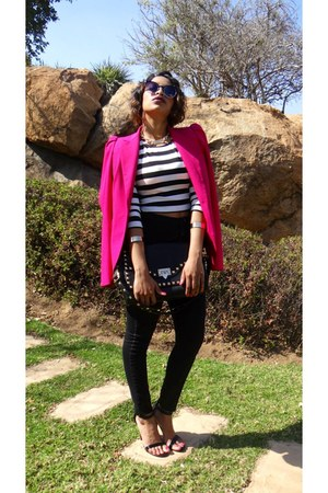 black Topshop jeans - hot pink and stripe crop blazer - black Woolworths bag