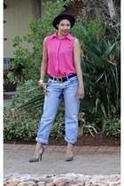 jeans - pink chiffon shirt - leopard print heels