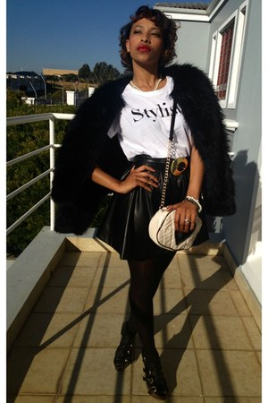 white graphic tee Mr Price t-shirt - navy fur coat Woolworths coat
