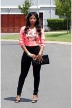 sweater - jeans - black clutch bag - bracelet