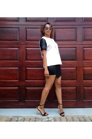 black leather jacket YDE jacket - black leather skirt cotton on skirt