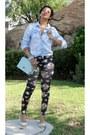 Floral-leggings-leggings-denim-shirt-shirt-mint-handbag-bag-heels