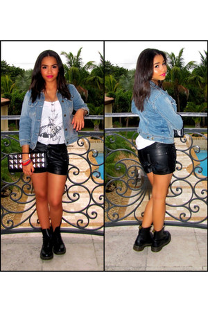 leather studded Bebe shorts - denim Forever 21 jacket - Forever21 top