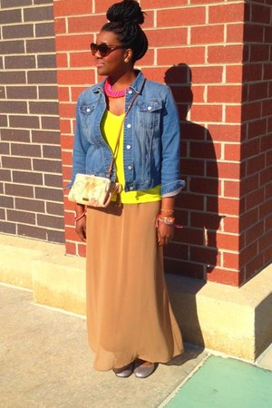 maxi skirt Forever 21 skirt - denim jacket Gap jacket - Forever 21 shirt