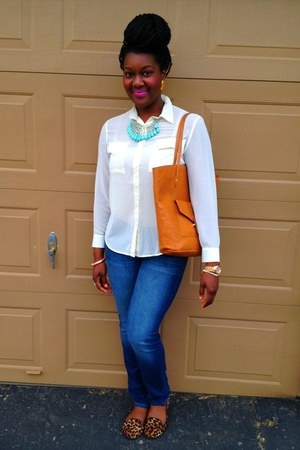 camel H&M bag - blue premium skinny Gap jeans - tawny leopard Dollhouse loafers