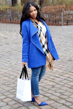 blue oversized fashion to figure coat - blue boyfriend fashion to figure jeans