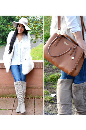 ivory faux fur H&M vest - beige slouchy boot Oasis boots
