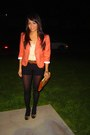 Carrot-orange-thrifted-blazer-light-orange-clutch-thrifted-purse