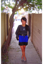 blue Express dress - charcoal gray Zizibeh sweater - black thrifted belt - leopa
