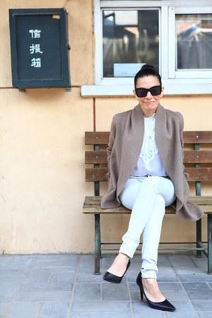 vintage lace blouse - Custom Made Cashmere coat - rag & bone jeans