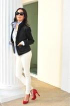 ever jeans - Gap blazer - Frank & Eileen shirt - Aldo Red Suede pumps
