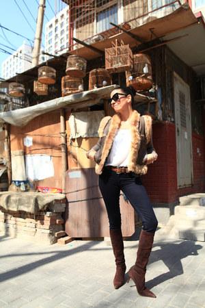 Manolo Blahnik boots - rag & bone jeans - Faux fur vest - J Crew cardigan