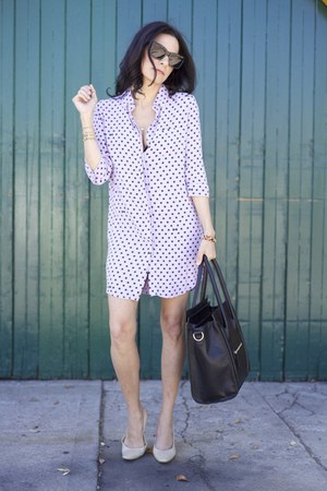 Celine bag - Monrow Shirt dress - Celine sunglasses - Charles Jourdan pumps