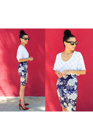 Zara Pencil skirt - Celine Sunnies sunglasses - Red Suede pumps - bella luxx top