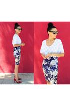Zara Pencil skirt - Celine Sunnies sunglasses - Red Suede pumps - bella luxx top