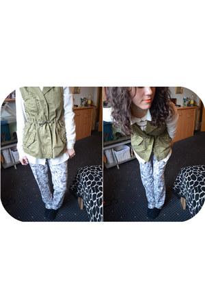white chiffon H&M blouse - heather gray H&M pants - dark khaki studded Zara vest