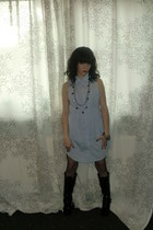 light blue H&M dress - black studded boots - black net tights
