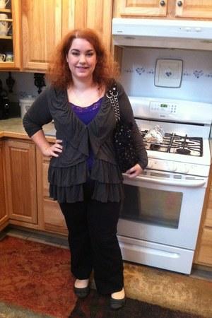heather gray Macys cardigan - silver Juicy Couture bag - black Fashion Bug pants