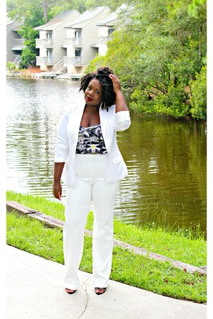 white white vintage blazer - white Zara pants - yellow multicolor Target bra