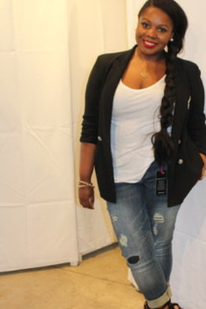 black Ralph Lauren blazer - navy torrid jeans - white Old Navy shirt