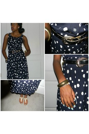 polka dot thrifted dress - gold black thrifted belt - gold Secondhand bracelet