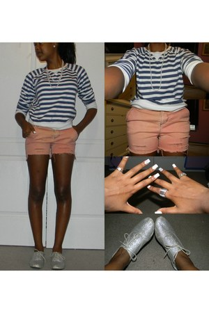 shiny oxfords Qupid flats - diy pink Old Navy shorts