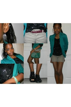teal DOTS blazer - black oxfords Urban Outfitters shoes - brown cuff Gap shorts