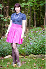 Dark-brown-target-tights-navy-forever-21-blouse-hot-pink-unknown-brand-skirt