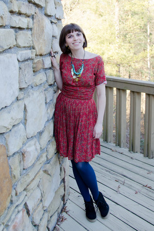 brick red vintage dress - black Jcrew boots - navy Target tights