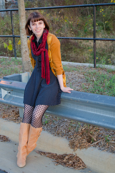 gold Forever 21 cardigan - tan seychelles boots - black vintage dress