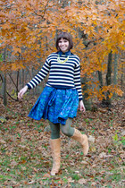 blue BB Dakota dress - tan seychelles boots - navy Jcrew sweater