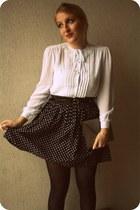 H&M skirt - heather gray H&M bag - white vintage blouse
