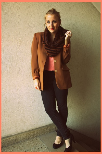 vintage blazer - H&M jeans - handmade scarf - H&M top - new look heels