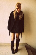 Oakwood coat - new look boots - vintage crochet dress - H&M top - H&M skirt