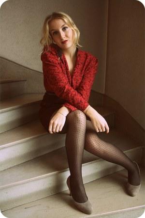 Grard Darel vintage shirt - new look tights - vintage skirt - Ebay heels