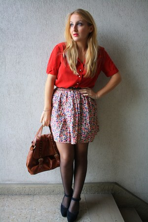 H&M skirt - vintage shirt - H&M bag - new look wedges